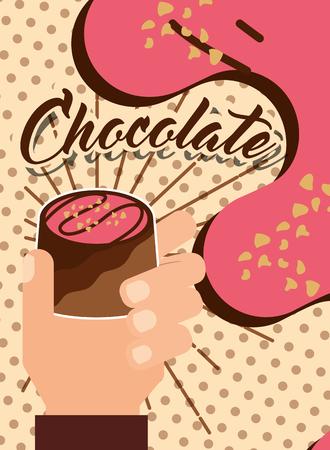 hand holding chocolate candy dessert food poster vector illustration Illustration