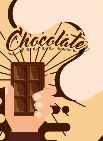 hand holding chocolate bar candy poster vector illustration