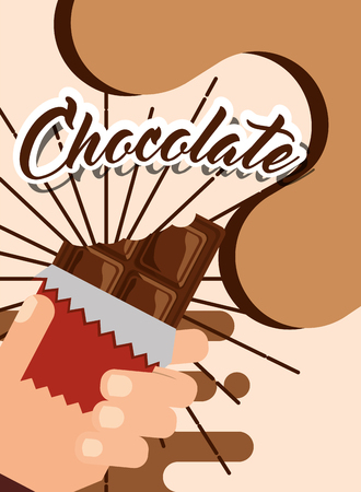 hand holding bite chocolate wrap tasty poster vector illustration Ilustracja