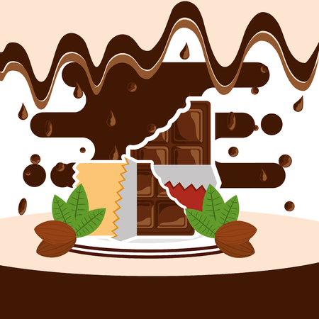 bite chocolate bars on dish melted drops background vector illustration