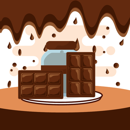 chocolate bars and glass jar on dish melted drops background vector illustration