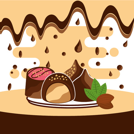 tasty chocolate candis on dish melted drops background vector illustration Ilustração