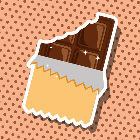 melted chocolate bar tasty sweet dotted card vector illustration Çizim