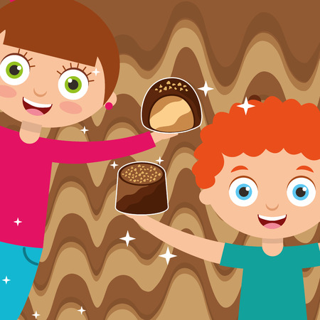 kids with sweet chocolate candies melted background vector illustration