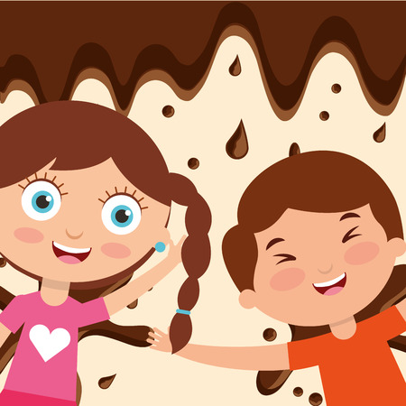kids with sweet chocolate drops background vector illustration Illustration