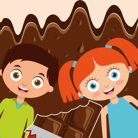 kids with sweet bite chocolate bar and melted background vector illustration