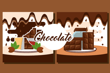 chocolate banners glass jar bars and cocoa beans vector illustration