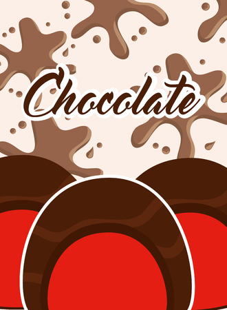chocolate candies sweet stuffed splash card vector illustration