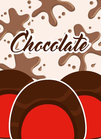 chocolate candies sweet stuffed splash card vector illustration