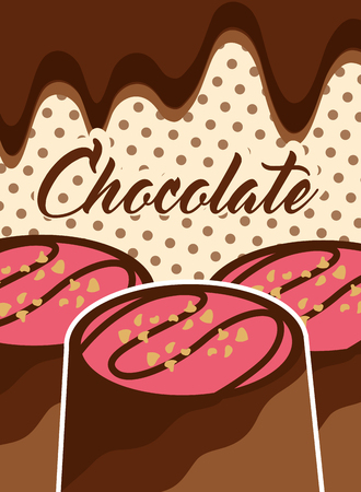 chocolate dessert candies glazed chips melted polka dots background vector illustration