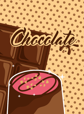 chocolate candy and bar polka dots background vector illustration Banque d'images - 100840537