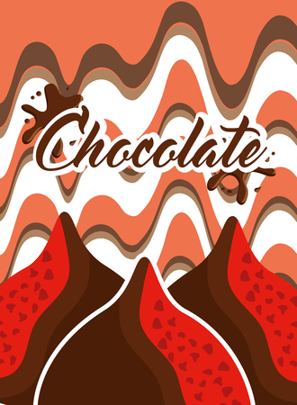 candies chips sweet chocolate melting background vector illustration