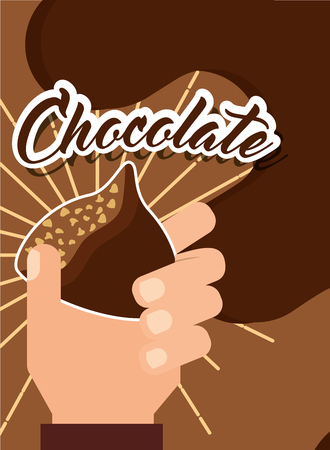 hand holding chocolate candy chip poster vector illustration