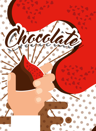 hand holding chocolate candy sweet glazed poster vector illustration