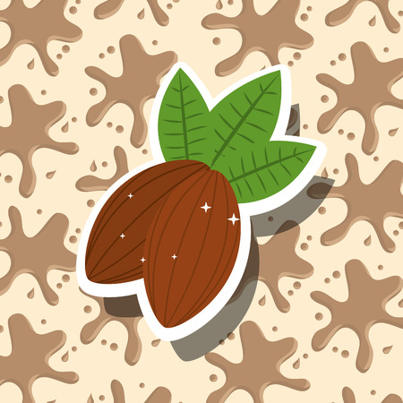 chocolate cocoa beans splash background vector illustration Foto de archivo - 100840613