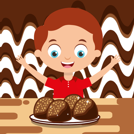 boy with chocolate candies dessert melted vector illustration