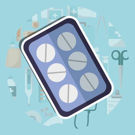 pills medicine packaging medical supply healthcare vector illustration