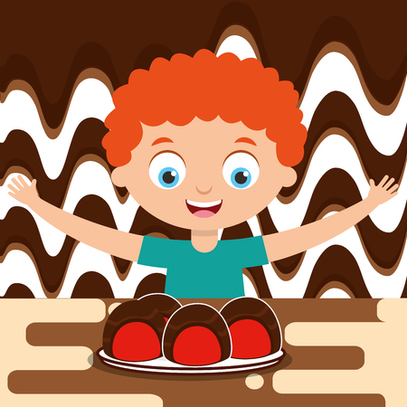 boy with stuffed chocolate candies dessert melted vector illustration