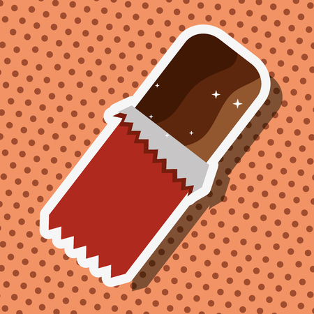 wrapped chocolate bar tasty sweet dotted card vector illustration Illustration