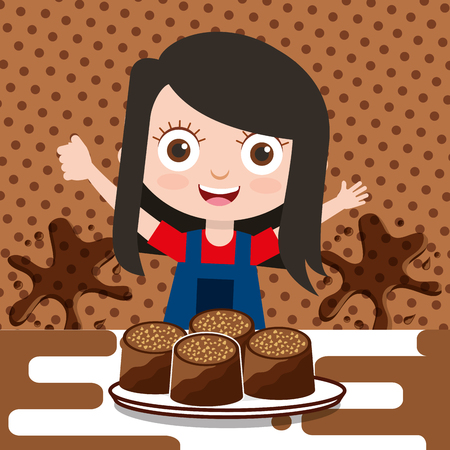 little girl with chocolate candy on dish splash background vector illustration