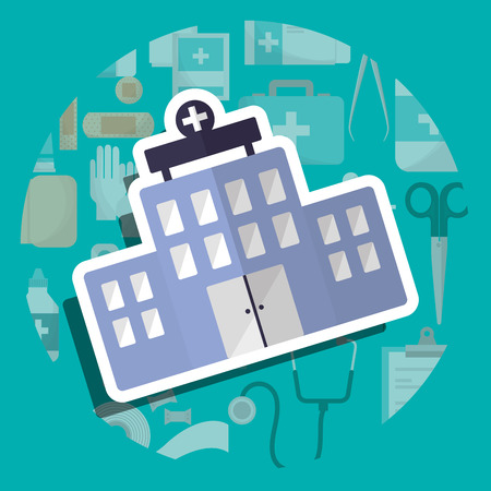 hospital building care institution medical vector illustration