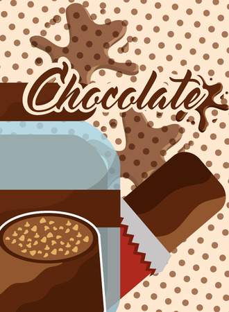 chocolate bar candy and glass jar splash dots vector illustration Illustration