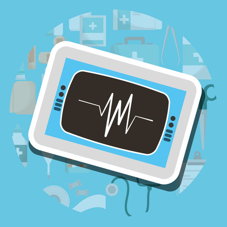 monitoring cardiology machine medical supply healthcare vector illustration