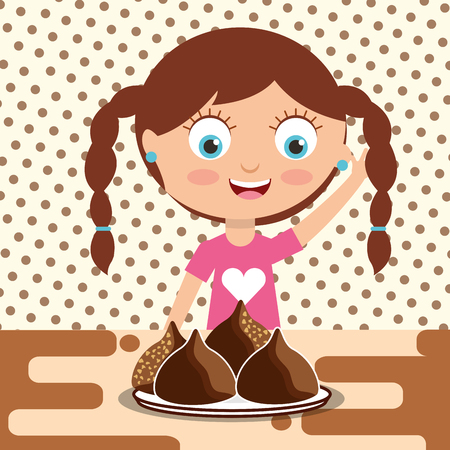 little girl with chocolate candy chips on dish vector illustration