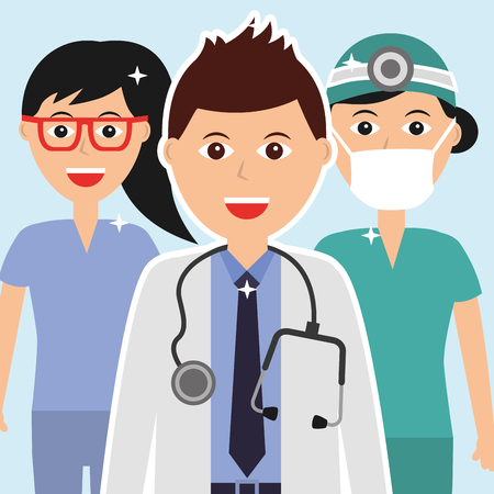 doctor with stethoscope nurse team hospital vector illustration Çizim