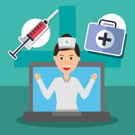 nurse in laptop screen professional medical syringe and suitcase vector illustration Çizim