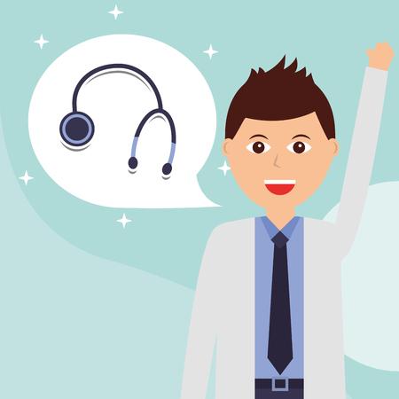 happy doctor stethoscope hospital worker professional vector illustration