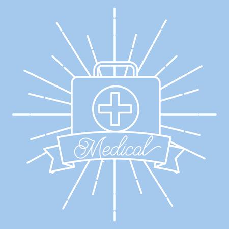 kit first aid medical supply healthcare vintage poster vector illustration Çizim