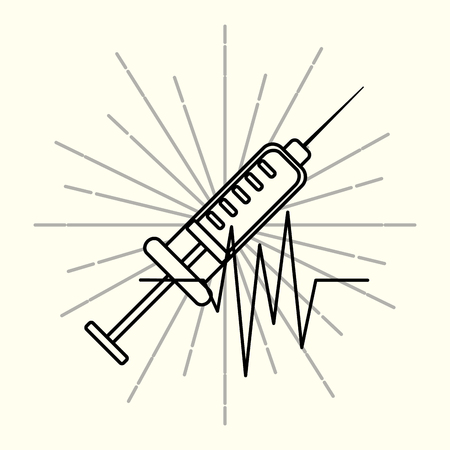 syringe rhythm cardiac medical supply healthcare vintage poster vector illustration