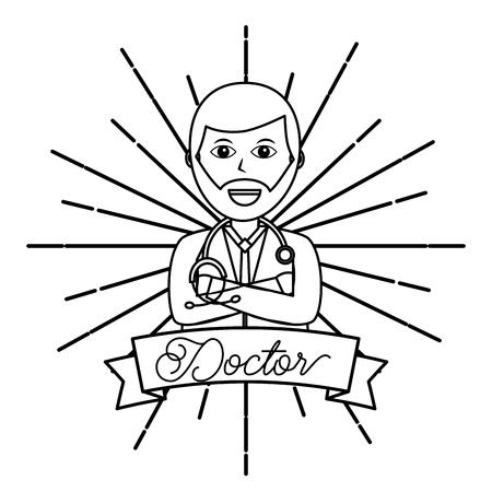 beard doctor with stethoscope professional hospital vector illustration Illusztráció