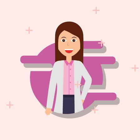 female doctor with coat medical profession vector illustration Banque d'images - 100840620