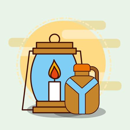 kerosene lamp and water bottle safari equipment supplies vector illustration
