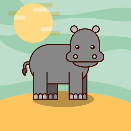 hippo cartoon wildlife animal african vector illustration Illustration