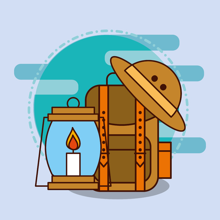backpack hat and kerosene lamp safari equipment supplies vector illustration