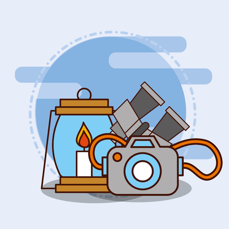 binoculars kerosene lamp and photographic camera safari equipment supplies vector illustration