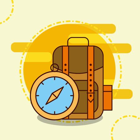 backpack compass safari equipment supplies vector illustration