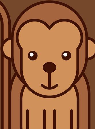 portrait of a monkey african animal vector illustration