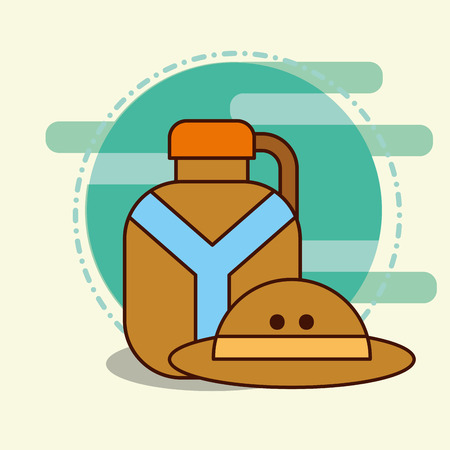 water bottle and hat safari equipment supplies vector illustration Illustration