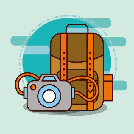 backpack and photographic camera safari equipment supplies vector illustration