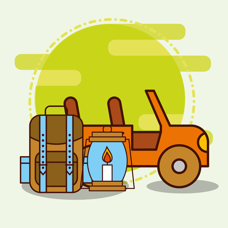 Vehicle backpack and kerosene lamp safari equipment supplies vector illustration