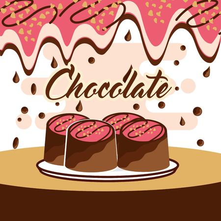 chocolate candy glazed on dish melted drops background vector illustration