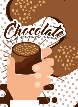 hand holding chocolate candy poster vector illustration