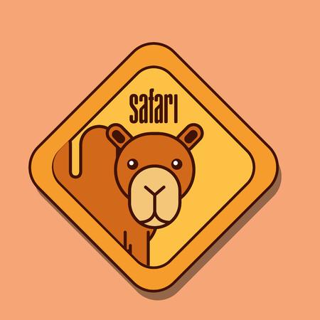 safari camel animal zone sign vector illustration