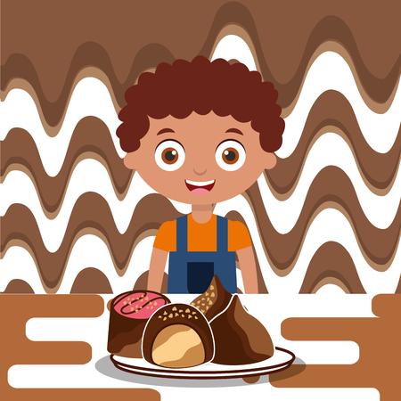 boy with sweet chocolate candies dessert melted vector illustration Ilustração