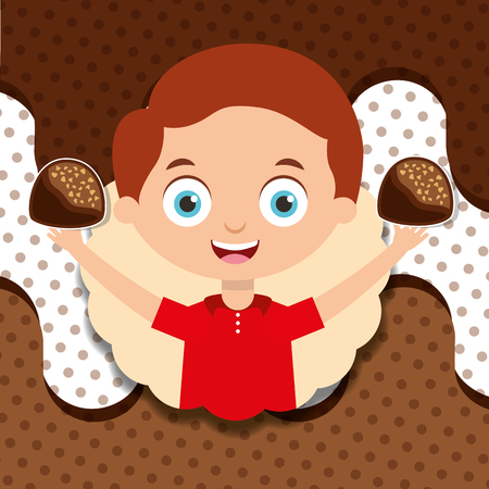 happy little boy holds chocolate candies melted design vector illustration