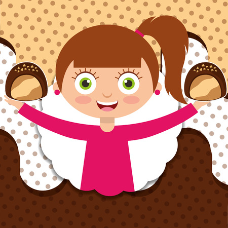 smiling girl holding sweet chocolate candy vector illustration Standard-Bild - 100846667